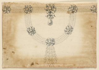 Jewelry design for a necklace. Four chains of pearls form a horizontal band at top and a curving band below, attached to the horizontal chains by rosettes of leaves. Evenly-spaced rosettes of similar style adorn both chains. Hanging from the center of the horizontal band's largest rosette is a knotted ribbon that holds a drop. Hanging from the center of the curving band's central rosette is a hanging chandelier of four chains consisting, alternatingly, of one and two pearls.