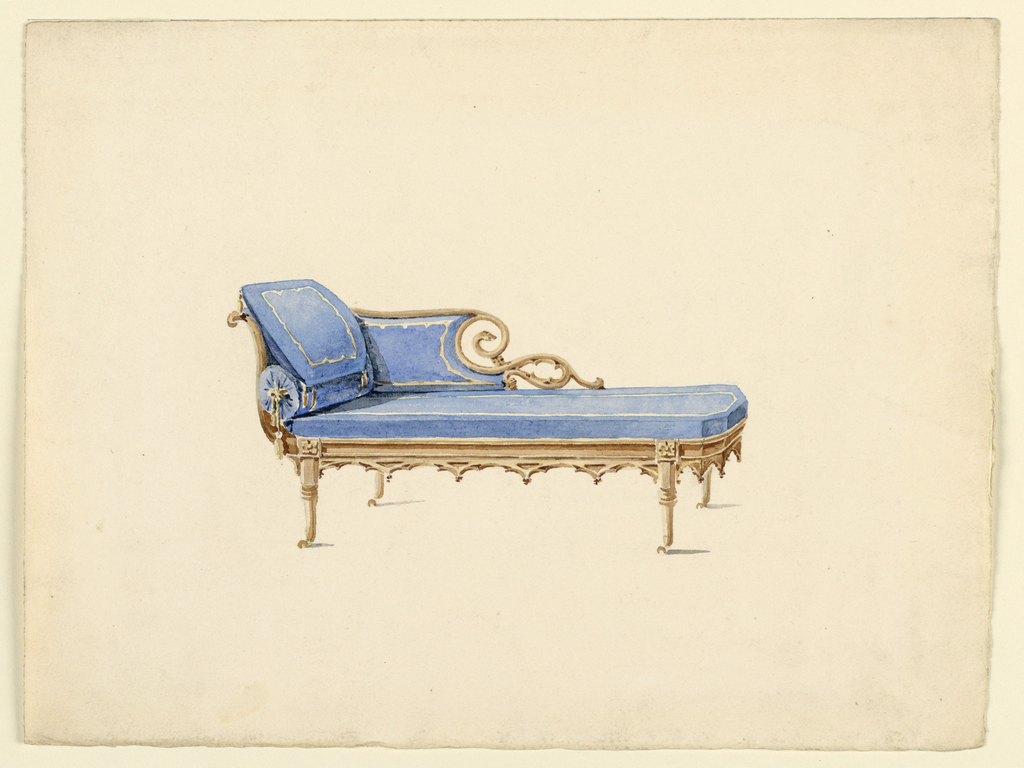 Couch in Gothic Revival Style, tan wood,rosettes on legs, Gothic design on apron around the seat; upholstered in blue with a roll and a pillow.