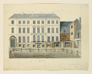 """Horizontal rectangle. Large three-storied building, designated """"Hotel de la Poste"""" beside which is a small porticoed entrance to the """"Grand Theatre."""""""