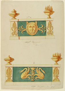 Above: center panel with a lion mask flanked by pilasters decorated with palmette motif. On top, lowered bowl at left; footed flaming bowl at right.  Below: center panel shows opposing fantastic swans flanking a floral motif. Palmettes at either end. On top, lowered bowl at left; footed flaming bowl at right.