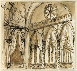 Drawing, Gothic palace interior