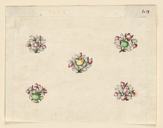 Drawing, Design for five small pins, 1770–80
