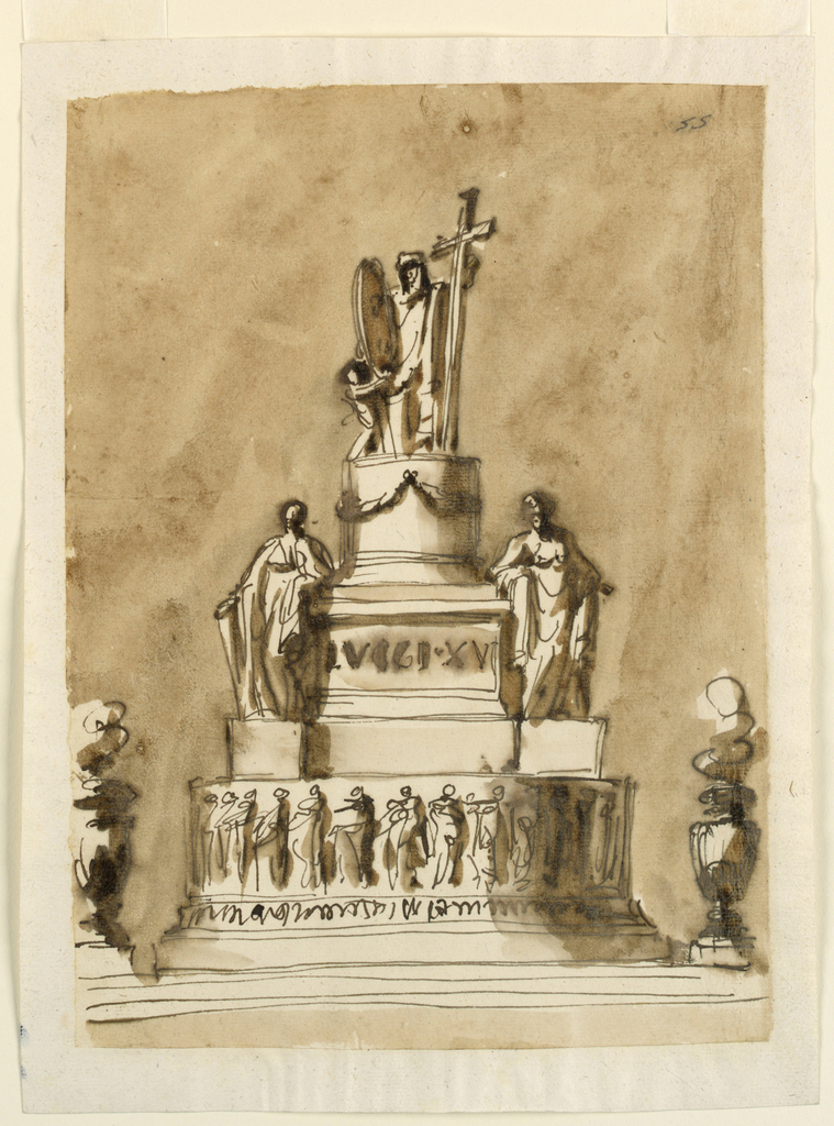 Below are steps. Above are stands, between two vases with flames, a round base, having above mouldings a frieze with a row of figures. Above it stands a pedestal, whose base is elongated by the projecting bases for two standing figures, a variation of 1938-88-1289, as is the entire pedestal and the group on top. The inscription is in the panel of the lower part, and the round part has festoons, no flutes.