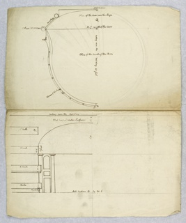 Vertical rectangle. Above, plan of circle of boxes, with explanations. Below, elevation of proscenium, with explanation. Relates to -1446.