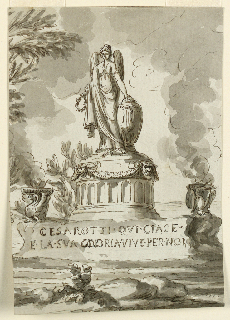 The monument is shown obliquely. A circular pedestal rises in the center of an oblong rocky base. A female genius stands upon it, her left hand lies upon a cinerary urn, her right holds a laurel wreath. Bowls with flames, supported by swans, flank the pedestal.   Inscription at the base:  CESAROTTI.QV/ CIAGE/ E.LA.SUA.GLORIA.VIVE.PER.NOI  In landscape setting. Part of a framing line on top.