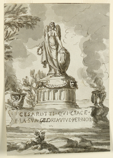The monument is shown obliquely. A circular pedestal rises in the center of an oblong rocky base. A female genius stands upon it, her left hand lies upon a cinerary urn, her right holds a laurel wreath. Bowls with flames, supported by swans, flank the pedestal. 