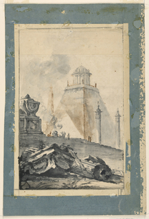 In the foreground are ruins of a classical temple - a broken column and a pedestal.  Stairs lead up to a sepulchral monument and to an altar where a sacrifice is being conducted. In the distance are two free-standing monumental columns as well as a truncated pyramid crowned by a circular temple.  The sheet is enlarged at the bottom and slightly laterally by an L.L. who signed the original drawing.