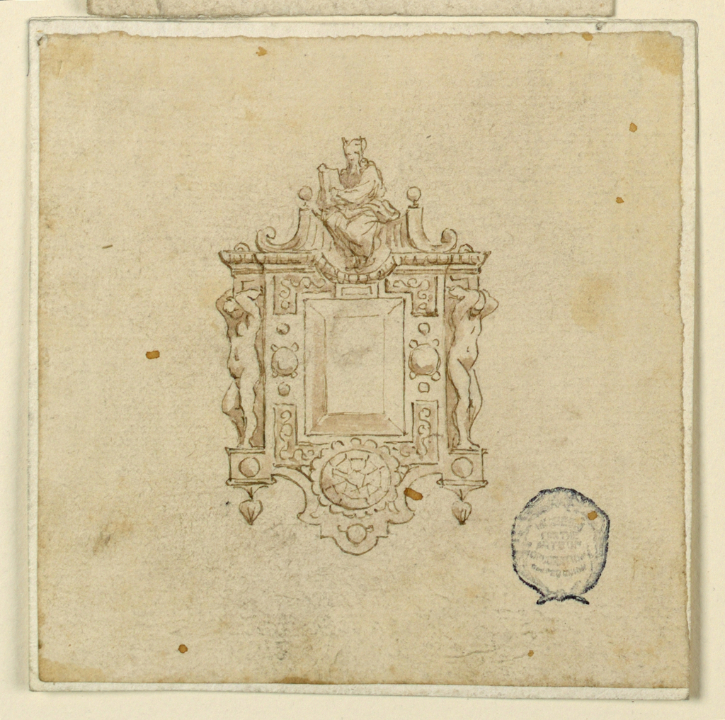 An escutcheon frames an oblong diamond. At top, the horned figure of Moses sits within a broken pediment. On either side, a ignudi with raised arms.