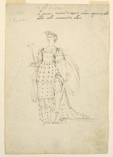 "Vertical rectangle. A woman is shown, standing, with a trumpet in her right hand, the left hand holds the neck of a violin-cello. Her coat is decorated with rows of stars. Written on top, in pencil: ""La siga Cecilia,"" in the upper left corner: ""Nobilta/o Poesia,"" in the upper part of the bodice, and in the left sleeve: ""Biancho,"" in the lwoer part of the bodeice, and in the skirt: ""Turchino."" Written above, in ink (over pencil): ""La poesia vestita di azurro celeste sopra ivi saranno/molte stelle coronate di alloro."""