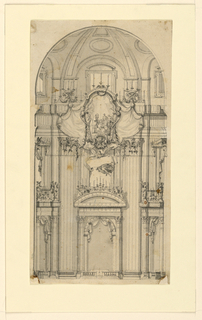 Vertical format architectural design for the interior of St. Peter's Basilica, curved dome at top. Gallery of doors at lower level surrounded by double-height Corinthian pilasters. Above at center, a large escutcheon surrounded by drapery. On the escutcheon, a figural scene.