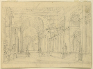 Horizontal rectangle. At right and at left are entrance bays with stairs leading to the hall. They are flanked by pedestals with groups upon them. The lateral walls are decorated with colonnades. Stairs are leading in the rear to an archway, giving access to a circular hall with a cupola. On the reverse some architectural sketching.