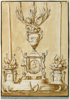 A stepped plinth atop fish. At center, a plinth with a medallion flanked by maidens dancing on lions. Above this, a baluster formed vase decorated with terms, filled with foliage and birds. On either side, a short column flanked by putti, supporting tall candles and birds.
