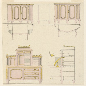 At top, two commodes, with plan and elevation for each and, for the left one, section as well. Below, a desk fitted with a fall-foot, for writing, and cabinets above. Scale for each piece.