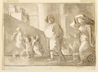 Urban Scene with Draped Figure, Putti, and Woman Carrying Basket. Additional figures in sunken midground and background.