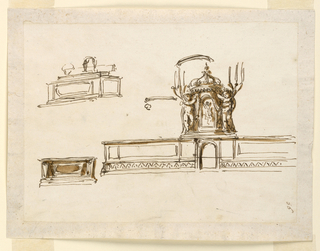 "Horizontal rectangle. At right: an altar furniture with above the tabernacle, with a slightly altered design of the right tone in -1375. The angels support also brackets as in -1375, left. Outlines of the back of the framing. Above, at left, a sketch of the altar, seen from its left corner. Pen. At left, below, a sketch of the mensa with the sepulchrum, in the shape of a reliquary box; pen, brush. Written in the lower right corner, vertically: ""56""."