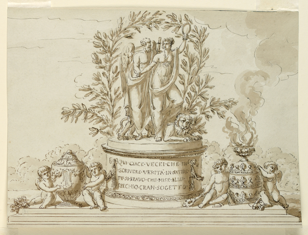 Drawing, Sepulchral Monument for Writer Vecei