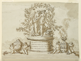 A group composed of Saturnus, Truth, and a Lion is shown on an oval pedestal against an arch of olive boughs. Two seated putti flamking an urn, at left, a vase in the shape of  tiara with fire. In landscape. Fragment of bordering line, top right. 