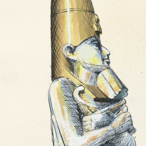 On left, a mummy-shaped container; the mummy is in three-quarter profile facing right, colored in blue, yellow, and tan shading. It wears a bronze-colored crown and holds Egyptian symbols (possibly symbol of Osiris on left and ankh on right). The body is wrapped like a mummy's. Right, detail of screw-top of the container; below, this smaller version of container uncolored encased in plastic; below, another smaller version of container uncolored, but facing left, encased in contoured plastic.