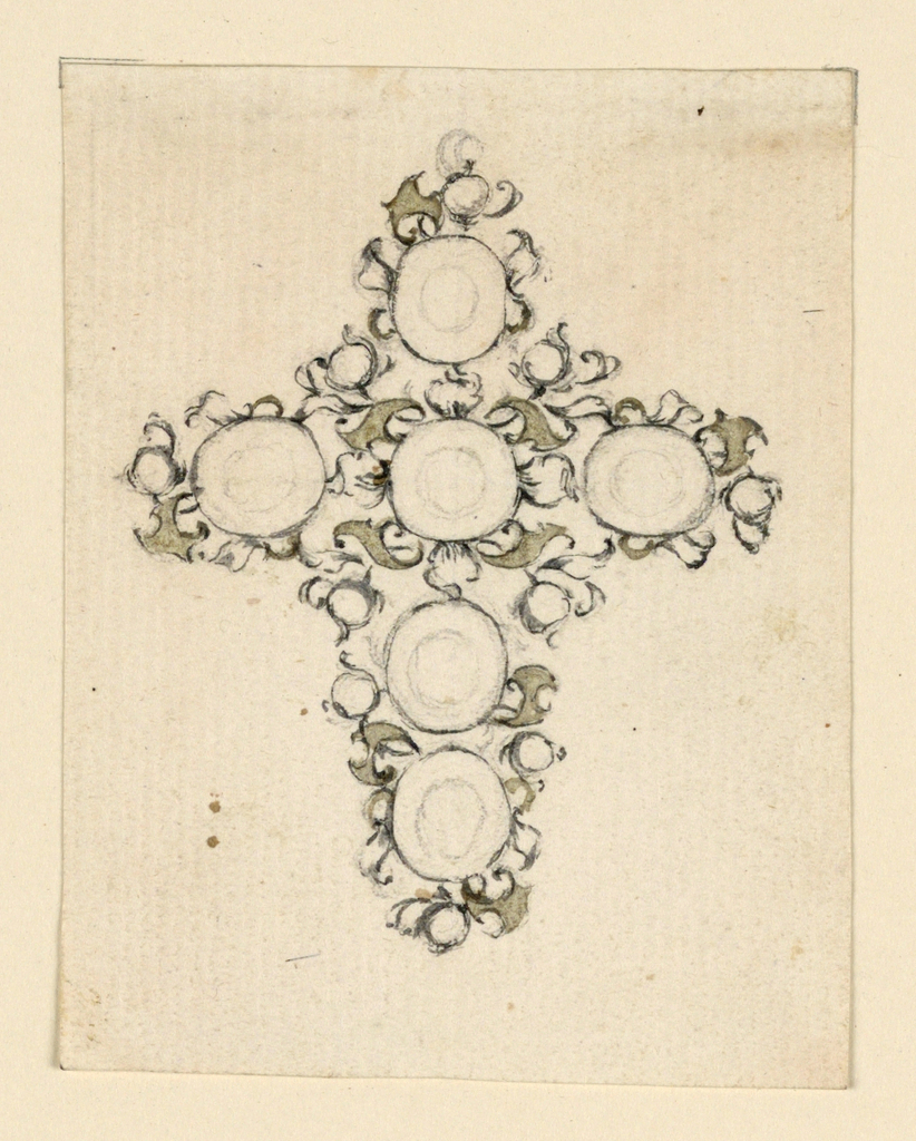 Drawing, Design for a cross as a pendant
