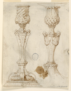 Two candlesticks with alternative designs. At left, a spiraling socket and acanthus leaves. At right, three masks with festoons.