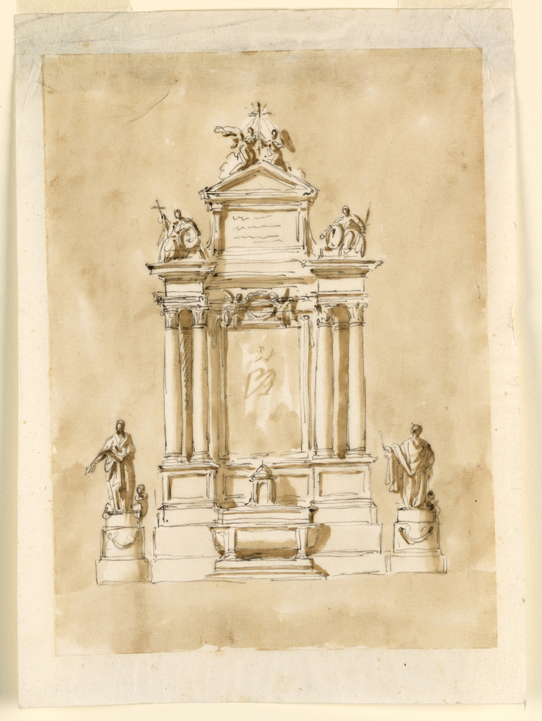Vertical rectangle. In the center of the retable is a picture, probably of the ascending Virgin. On top of it and in front of the entablature are two angels supporting a wreath. On either side are two projecting columns. Above the entablature are laterally statues of sitting women supporting a medallion. The left one is supporting also a cross. In the center is a tablet with an inscription and on to p a triangular pediment with above two kneeling angels beside a cross. The mensa has the shape of a tub sarcophagus, with two supports. The tabernacle stands upon the furniture and in front of the central panel of the zone with the pedestals. Laterally stand upon tripartite circular pedestals, having a festoon in the central part, a statue of a saint, with an angel sitting beside. Colored background.