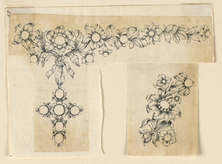 Jewelry design for a necklace; irregular sheet. At left, a design for a necklace, the chain made up of scrolling leaves and blooming flowers. From a large flower at upper left is a knotted ribbon, from which hangs a cross made up of round gems bordered by leaves with a blossom in the center. At lower right, possible alternative suggestion for the pendant or a brooch design made up of a branch with blooming flowers. Similar to 1938-88-6212, with some sketches of minor additions.