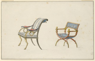 Two chairs, obliquely shown. At left, the back is backwards curved and pierced. Right, plan green seat, upper back is convex and decorated with rectangular representation.