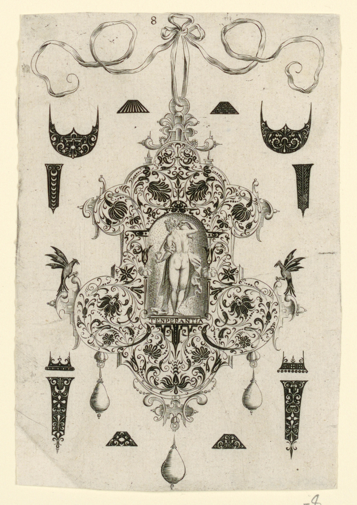 """Pendant design with floral motifs and hanging pear-shaped pearls.  Central Image: Temperance, a nude women pouring water from a pitcher.  Inscribed below image: """"TENPERANTIA"""".  Surrounding the pendant are blackwork ornament designs for enamelists, mostly showing possibilities for the top and sides of rings.  (Matted with 6161.1-5/7.2000)"""