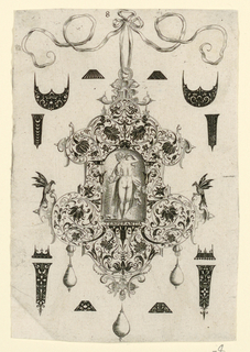 "Pendant design with floral motifs and hanging pear-shaped pearls.  Central Image: Temperance, a nude women pouring water from a pitcher.  Inscribed below image: ""TENPERANTIA"".  Surrounding the pendant are blackwork ornament designs for enamelists, mostly showing possibilities for the top and sides of rings.  (Matted with 6161.1-5/7.2000)"