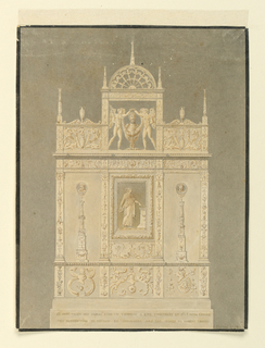 Elevation of a Reniassance monument.  The monument is a vertical rectangle.  The lowest portion is a base, with the inscription: CE MONUMENT QUI PAROIT ETRE UN TOMBEAU A  ETE CONSTRUIT EN 1425 DANS L'EGLISE/DES BENEDICTINS DE FESCAMP EN NORMANDIE SOUS LES ORDRES DE ROBERT CHARDI.  Above the base is a wide frieze, divided into three parts by short piers and decorated with arabesque designs and coats of arms (possibly).  In the central section of the monument, at the center, in relief, is a depiction of a woman.  The image is framed and positioned between two piers (decorated).  On either side of this central grouping is a candelabrum in relief.  On the base of the left candelabrum the inscription reads: ROUEN; while on the base of the right candelabrum it reads: VERNON.  The top of the monument includes a balustrade with two carved panels and a central, arched frame in which a bust of a bearded man above an eagle is crowned by two genii, who stand beside it and hold a festoon in front of the bust