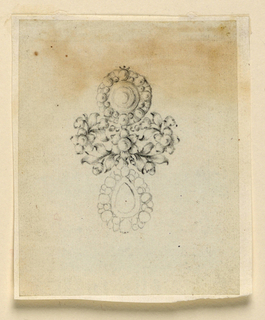 Drawing, Design for earrings, ca. 1775