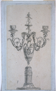 A vase shape with two handles standing on a pedestal.  Two of the three intended arms are shown emerging from the vase.  Ram's heads are applied near their upper ends from which festoons hand toward spirals.  A pole which is decorated with flowers rises on top  Framing lines.