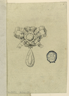 A laurel wreath entwined with a knot. In the center, a round diamond. hanging belowm a drop-shaped diamond.