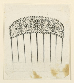 Design for a hair comb. The cresting is framed by a row of beads. In the center, a blossom framed by a circle. Springing from it are laterally two scrolls of ribbons, fastened at their joining points by diamonds. Inside the ovals is a blossom. Bevelled corners.