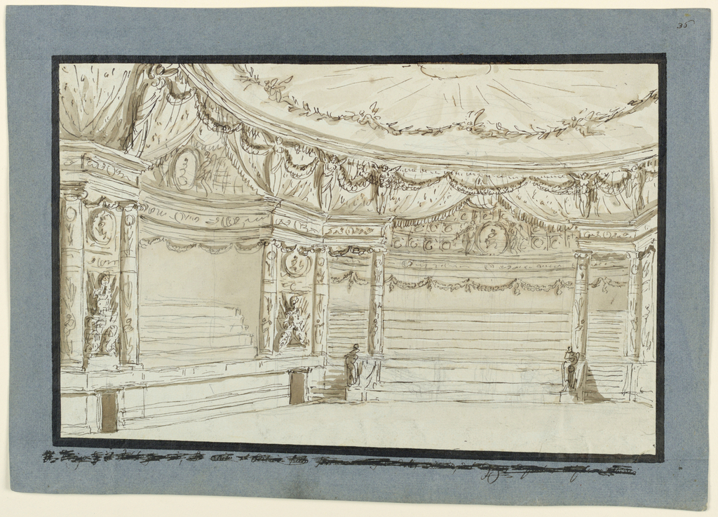 Horizontal rectangle. Interior of theater showing decorated niches and ceiling.
