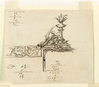 Design for upper part of a frame. The frieze is at left; it has a broken pediment above, with a fire burning in a bowl upon a high pedestal in the center. Upon the lower part of the cornice is a dolphin, whose body is curved and reaches the handle of the bowl. Some accounting figures.