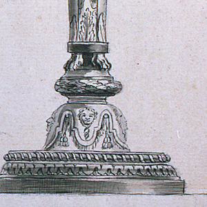 A vase shaped stand upon a shaft to which lion chimaerae are fastened.  From a calyx on the top case rise two ivy stems carrying sockets with low burning candles and a socket shaped like a trumpet and carrying a fire.  Framing lines and margin.