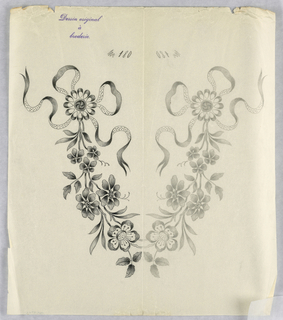 """Vertical rectangle. Designs of abstract floral patterns for panels and borders. Each drawing stamped at top: """"Dessin original a broderie."""" Designs numbered 180 (L)"""