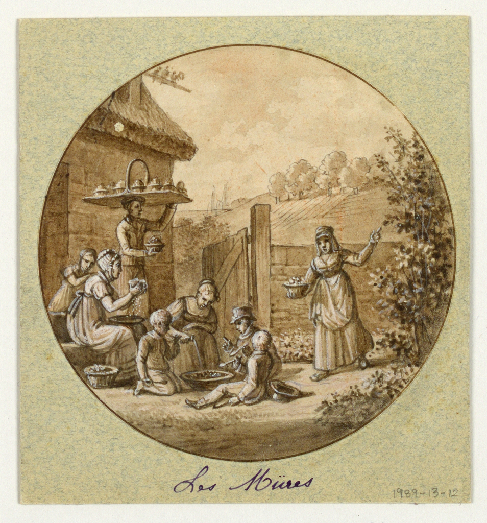 Design for a painted porcelain plate, rondel. Enclosed yard of a farmhouse. At right, a figure of a woman holding a basket of berries in her right hand points with her left hand to a mulberry bush. In center, three children sit on the ground eating berries under the watchful eye of an elder woman. Behind them to the left, a man balances a tray of berry containers on his head. In the left foreground, a seated woman appears to be sifting sugar into a vessel, while a small child leans on her shoulder. In the distance is a grove of trees.