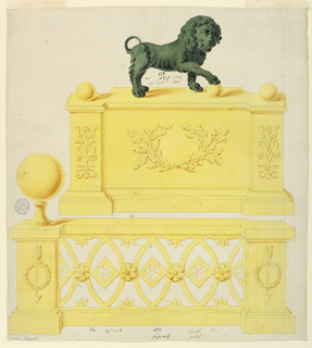 Above, a lion stands in profile, front right paw on a ball. Pilasters decorated with a vertical plant design, a ball atop. Front panel decorated with oak leaf design.  Below, a railing consisting of ovals with floral centers connected by rosettes. Protruding pilasters with decorated arrows intertwined with wreaths, large ball atop left pilaster.