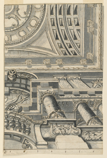 Partial view. Below, view upon two stories from below, the first having in the center a balconette with a trophy of arms; above, an entablature, the second story, with a window in the center. Then the main entablature, framed outside by a moulding with interlaced waved lines. Imaginary view into a cupola above pendentives. Framing lines, except at right.