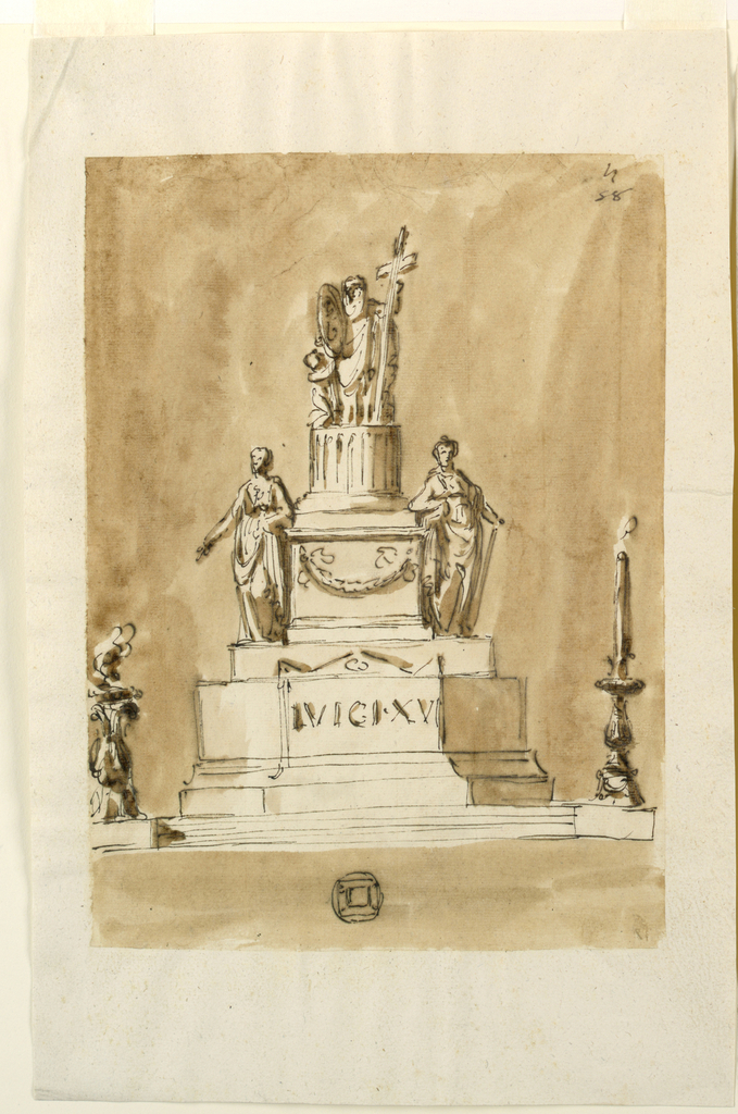 """A variation of 1938-88-1289. Beside the steps are at left a tripod with a bowl and a flame, at right a candelabrum with a burning candle. The front of the upper part of the lower pedestal represents that of the sarcophagus bearing an inscription. The upper edge is similar to 1938-88-1297. The lower part of the upper pedestal is decorated with a festoon. The column has no calyx. The angel is kneeling. In the upper right corner: """"58."""" Center below is a small plan of the monument."""