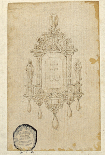 An octagonal diamond is engraved with an anchor. The frame is shaped as an aedicule niche. On either side are allegorical figures of Love and Faith. Below are five drops.