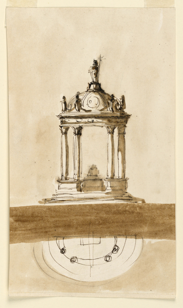 Vertical rectangle. Above is the elevation, below, separated by a wide dark strip the plan. Above steps stand four columns and support the half-circular entablature, above which four figures stand and a half dome rises; on top a figure with a cross. The mensa with the tabernacle stands at the back wall. Colored background. At the reverse are some colored oblongs.