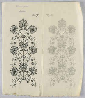 """Vertical rectangle. Designs of abstract floral patterns for panels and borders. Each drawing stamped at top: """"Dessin original a broderie."""" Designs numbered 171 (J)"""