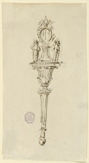 Below is a shaft supporting a bowl upon which stands the coat-of-arms upon which stand a pedestal beside two figures.