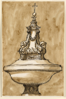 Sketch of a decorative architectural element, consisting of a double-convex bowl on a foot with a carved mask, supporting a pyramidal arrangement of a pediment-like form below acanthus, winged cherub heads, and garlands, below the finial orb and cross.