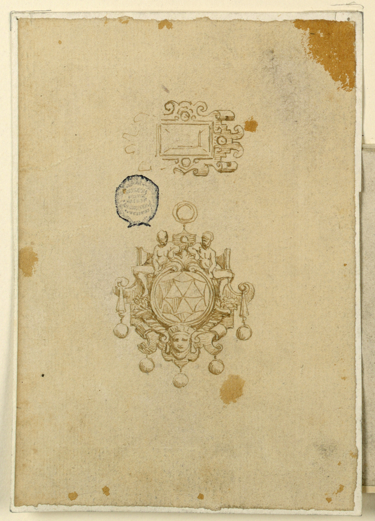 Above an escutcheon of scrollwork, with an oblong diamond. The left side is outlined. Below the pendant: an escutcheon of scrollwork with a round diamond and two sitting figures. Fire round diamonds are pending. Above, a ring.