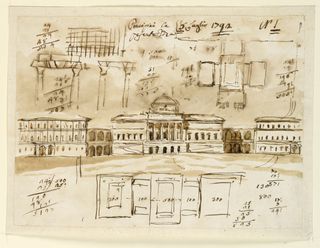 Horizontal rectangle. Center: most of the elevation is shown. Three houses are connected by two colonnades as shown in -1105. The elevation of the central one is similar to that of -1105 but it shows a dome. The lateral houses have three stories each; alternative suggestions are shown for their decorations. Below is the plan and accounts. Above are probably a sketch of the entablature and the roof of the left building, a plan, accounts, and an inscription.