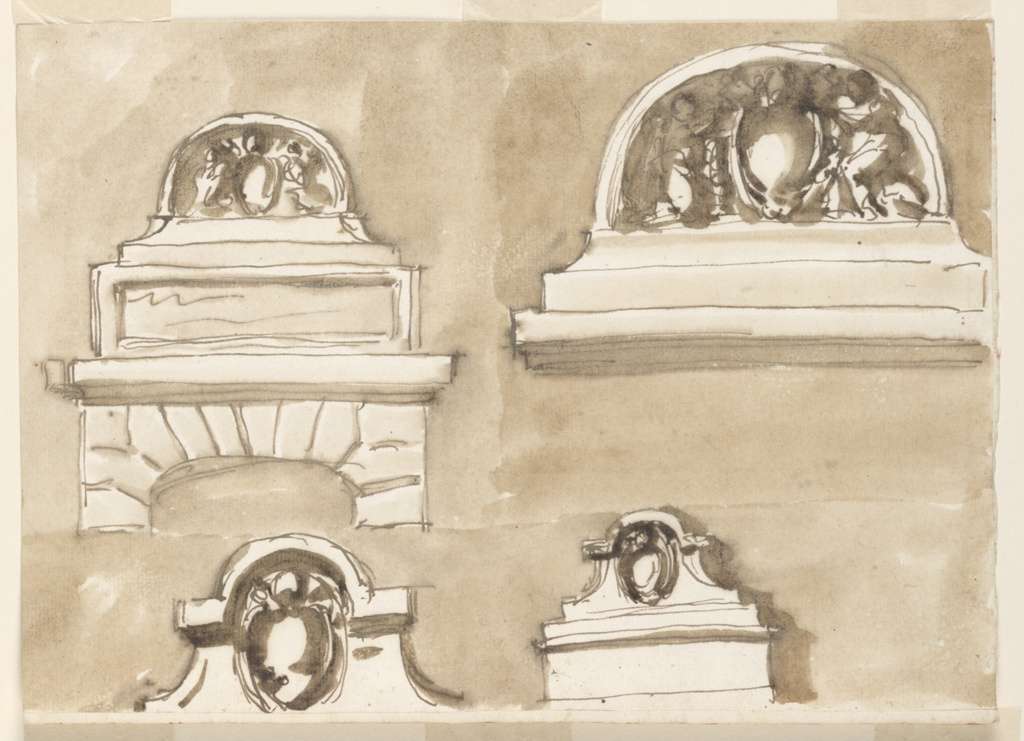 Horizontal rectangle. Left row: Above: below is the upper part of the doorframe, in rustic. It is bordered above by moldings, upon which stands an oblong panel for an inscription. Above it stands a base with a couch, in which the escutcheon is supprted by two angels. Below: a slightly obliquely shown attic, pediment with the escutcheon below the half circular part of the rim. Right row: like the upper design at left, without the tablet and the doorframe. Below: like the design at left the pediment standing upon a pedestal. Colored background.